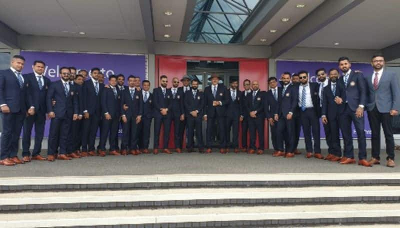 The Indian cricket team poses for a picture after landing in London on Wednesday (May 22). India will play their first match in the ICC World Cup 2019 on June 5 against South Africa.