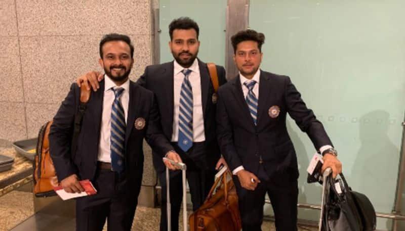 Kedar Jadhav, Rohit Sharma and Kuldeep Yadav photographed in Mumbai on Tuesday (May 21).