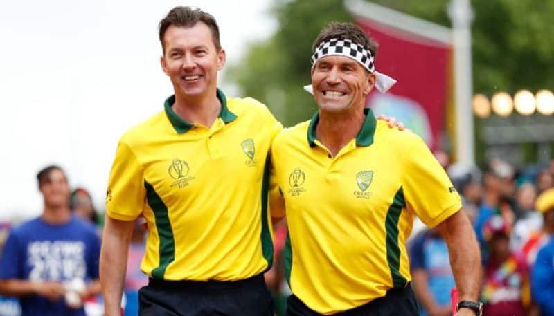 Former Australian fast bowler Brett Lee (left) with ex-tennis star Pat Cash