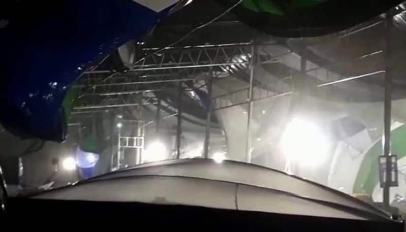 Heavy rains and gusty winds destroyed the stage meant for Jagan's oath-taking ceremony