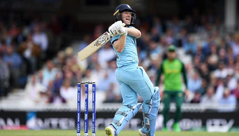 1st six of the World Cup 2019 was hit by England captain Eoin Morgan off Ngidi in the 26th over