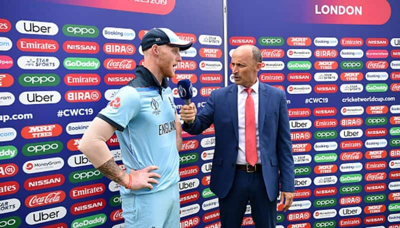Stokes speaks to former England captain Nasser Hussain after the match