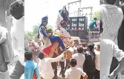 See how the groom fell from mare