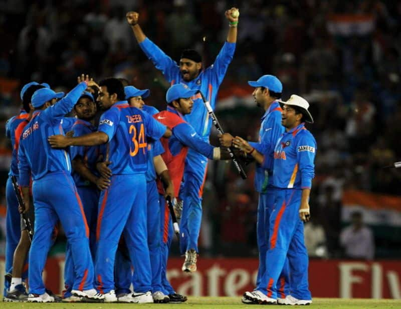 Indian players celebrate their 2011 World Cup semi-final win over Pakistan
