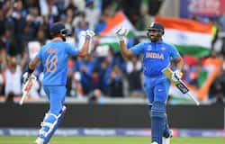 Rohit and Virat Kohli get ready to punch the gloves as the former runs to complete his century