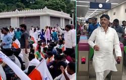 Valmiki protest- DK Shivakumar takes metro