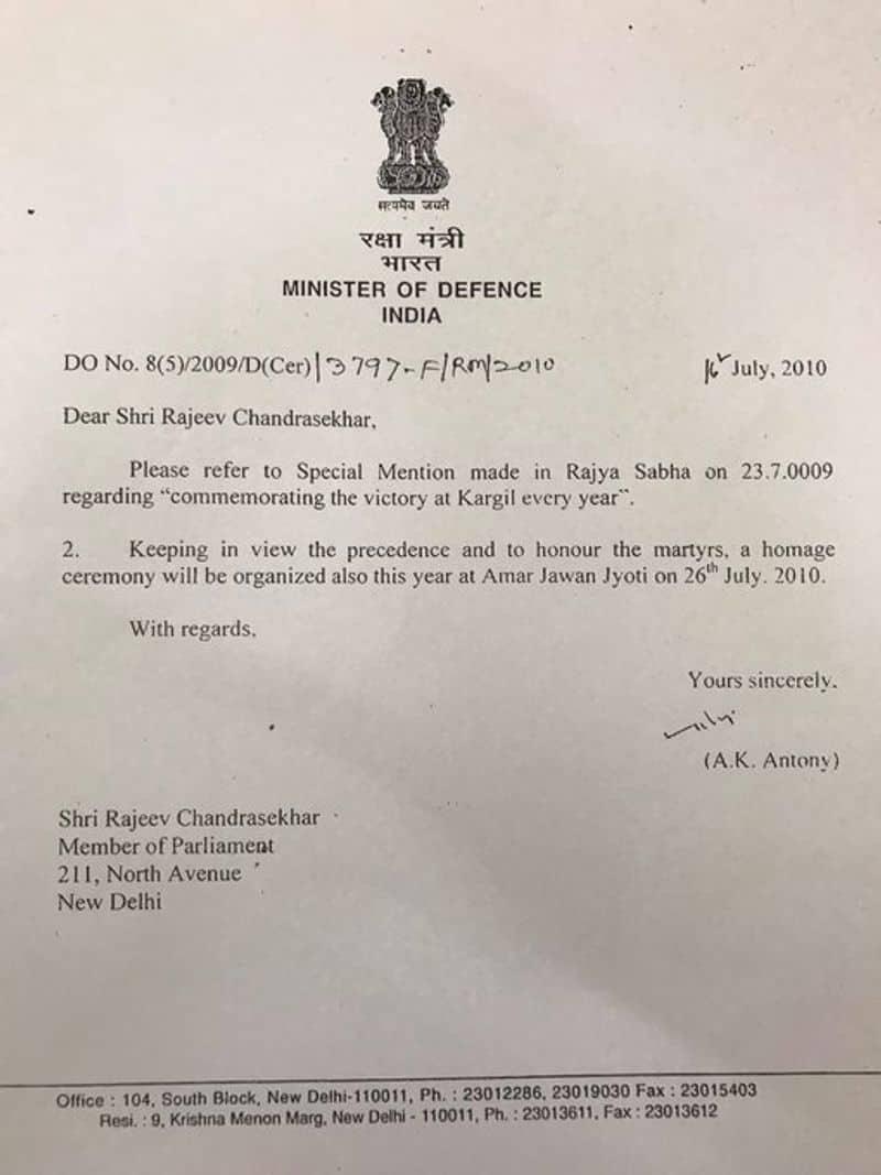 Kargil Vijay Diwas Nation celebrates day, courtesy Rajya Sabha MP Rajeev Chandrasekhar KPP