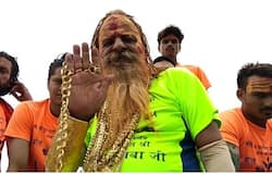 golden baba seen in kavad yatra with 13 kilos of gold on body