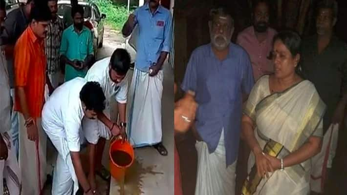 Kerala Youth Congress leaders purify PWD office with cow dung after Dalit MLA's protest, FIR filed