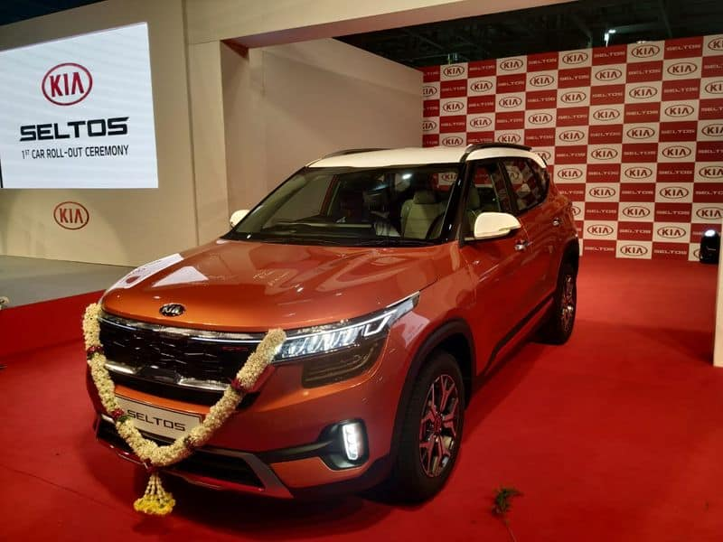 First kia seltos suv car rolls out from Anantapur manufacturing unit
