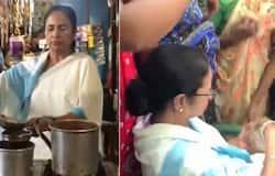 पश्चिम बंगाल की मुख्यमंत्री ममता बनर्जी ने एक गांव में स्थानीय लोगों के लिए चाय बनाकर परोसी।