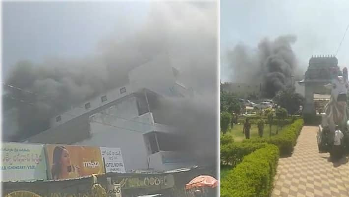 fire accident near kanipakam temple