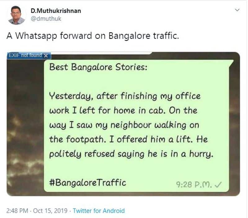 Twitterati watches on with laughter as #BengaluruTraffic comes to halt