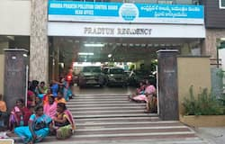 Women protest At Ap pollution board