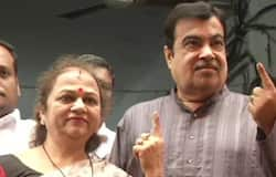 Union Minister Nitin Gadkari and wife Kanchan, after casting their vote in Nagpur