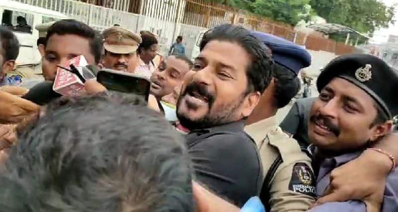 Revanth reddy comes on bike, Jagga Reddy in auto for lay siege to Pragathi Bhavan