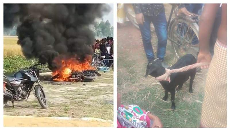 Mob set on fire a motorbike of miscreants who tried to still a goat in Itahar