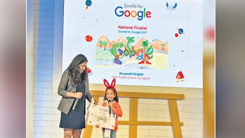 7 year old girl made unique painting for Google to save environment