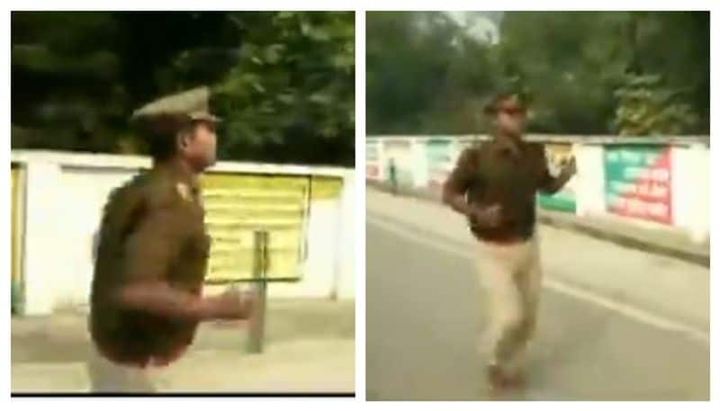 Police officer faints trying to run sixty kilometres protesting his transfer in Etawah