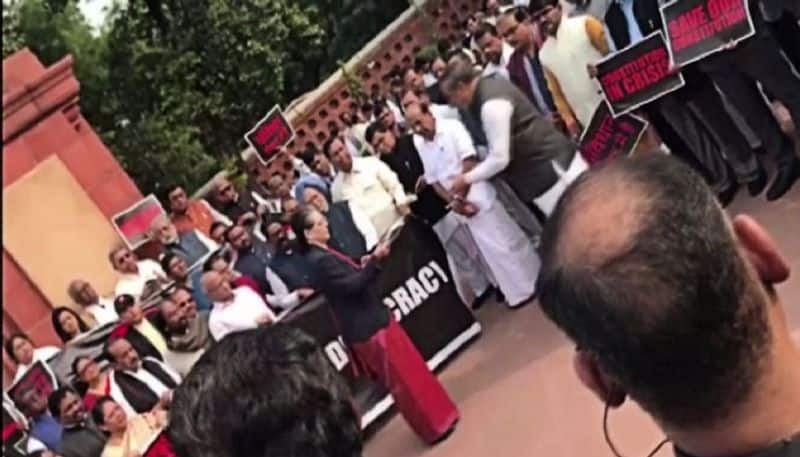 Opposition boycotts joint session of parliament, stages protest against Maharashtra govt formation