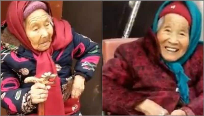 107-year-old mother gives candy to 87-year-old daughter