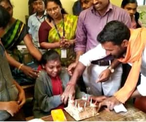 Students welcomes Mahalakshmi with cake and song
