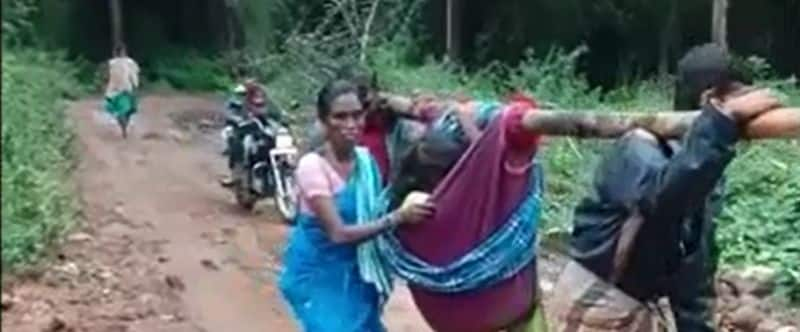 pregnant woman carried by relatives to hospital