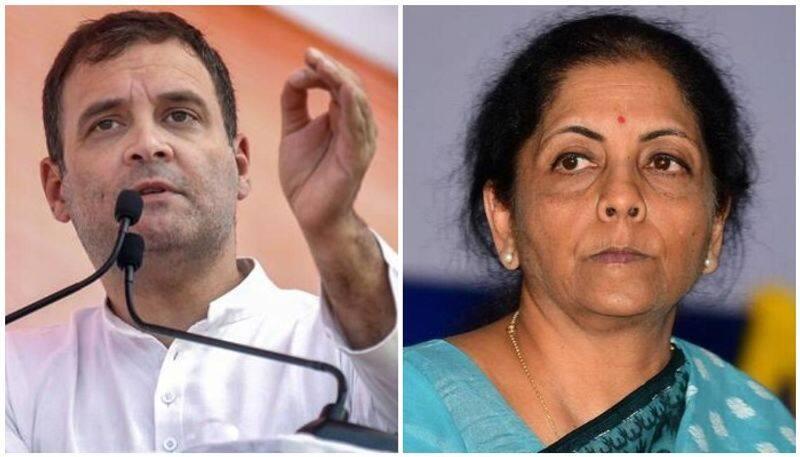 Rahul gandhi attacked Finance minister Nirmala seetharaman
