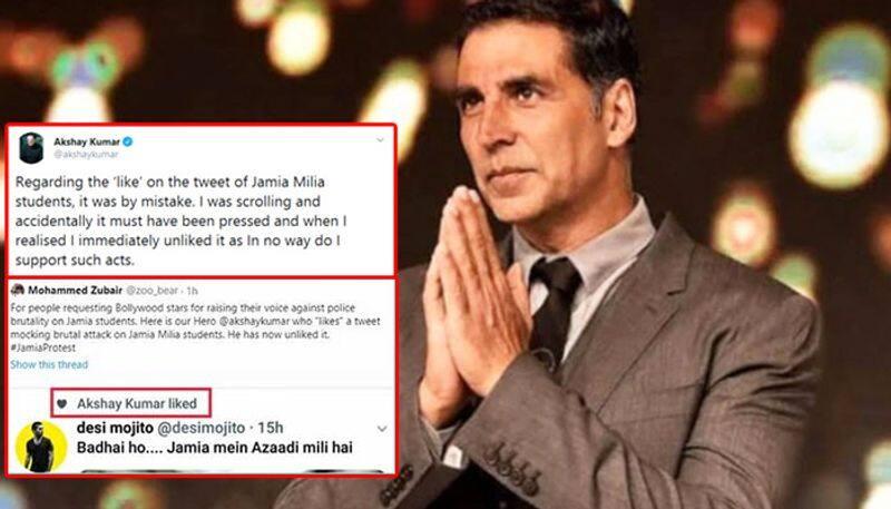 Jamia protest: Akshay Kumar accidentally likes tweet making fun of police crackdown