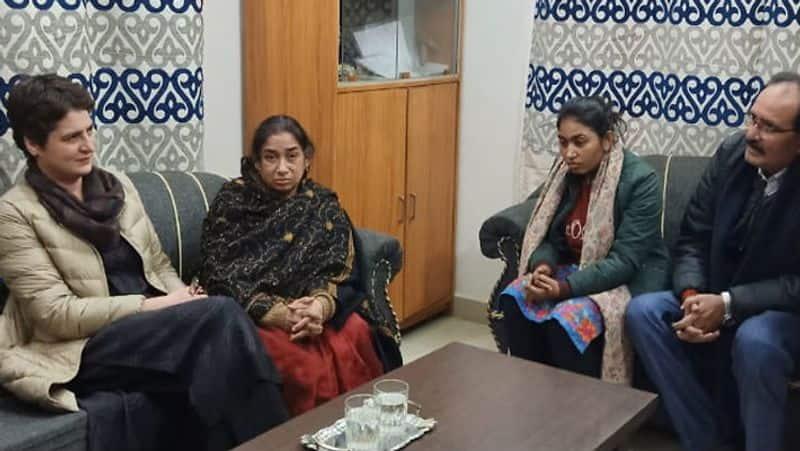 priyanka gandhi meets sunil srivastava family in rai bareilly KPU