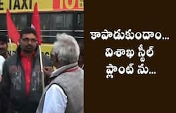 CITU Leaders Stops buses at Steel city RTC Depot for Steel Plant