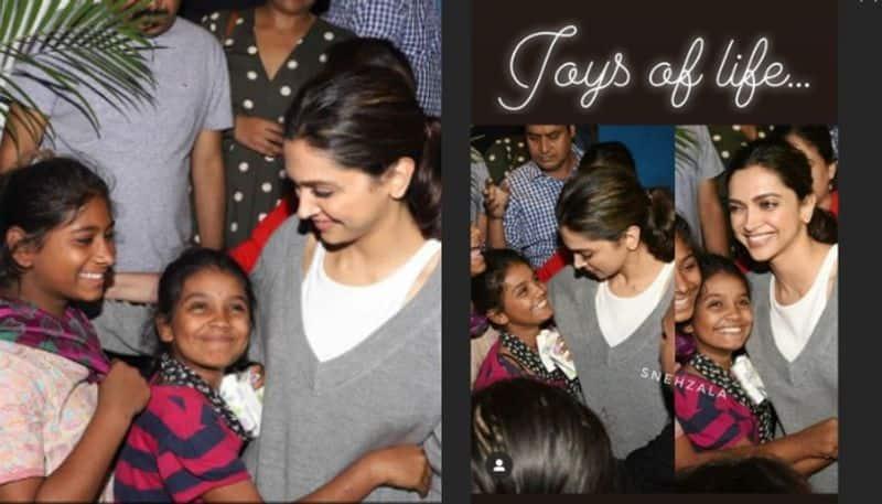 deepika padukone gets surprise hug by little fans