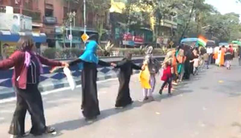 CAA protest 11 Kilometer Human chain in kolkata