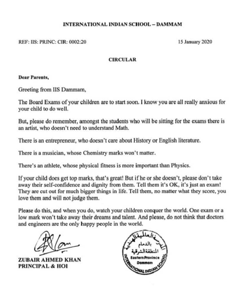 Principle's letter to parent before exam starts Viral on social media