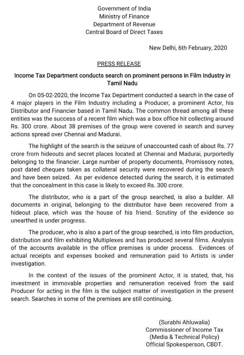 Income Tax Department Issue Statement Regarding Bigil Raid