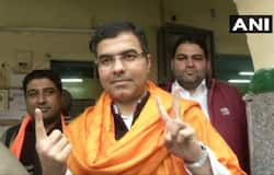 BJP MP Parvesh Verma casts his vote at a polling station in Matiala assembly constituency; BJP and Congress have fielded Rajesh Gehlot and Sumesh Shokeen from the constituency, respectively. Gulab Singh Yadav of AAP is the current MLA and party's candidate from Matiala