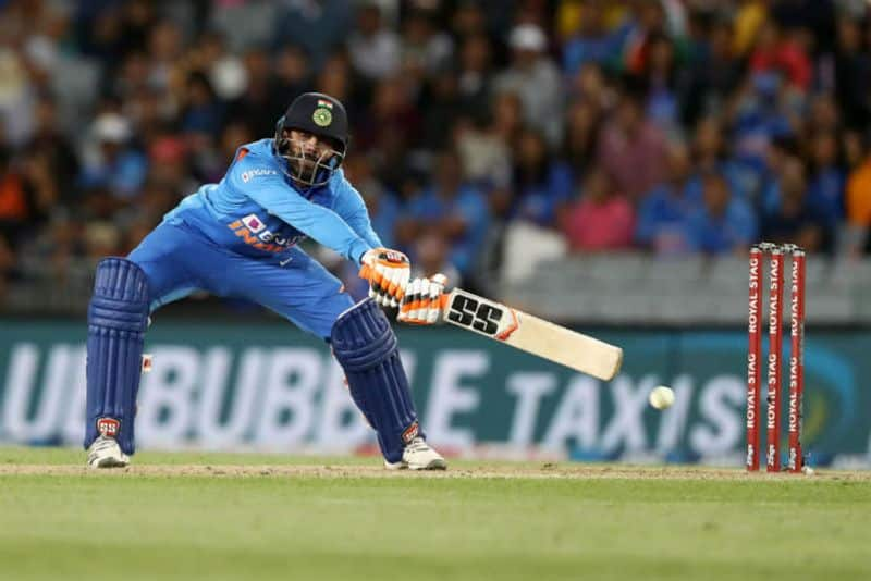 Ravindra Jadeja of India bats during game two of the One Day International Series between New Zealand and India at at Eden Park on February 08, 2020 in Auckland, New Zealand.