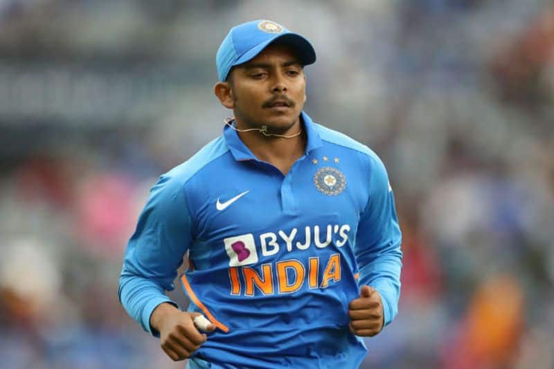 Prithvi Shaw of India fields during game two of the One Day International Series between New Zealand and India at at Eden Park on February 08, 2020 in Auckland, New Zealand.