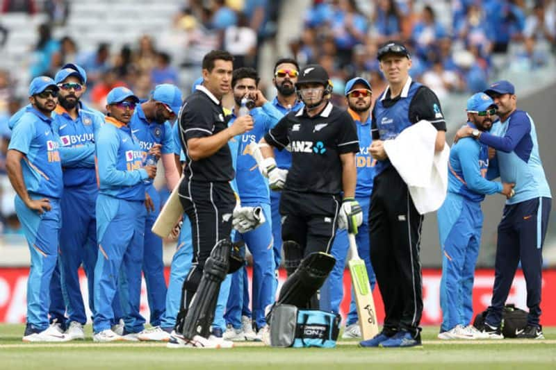Ravindra Jadeja and India celebrates the wicket of Tom Latham of the Black Caps during game two of the One Day International Series between New Zealand and India at at Eden Park on February 08, 2020 in Auckland, New Zealand.