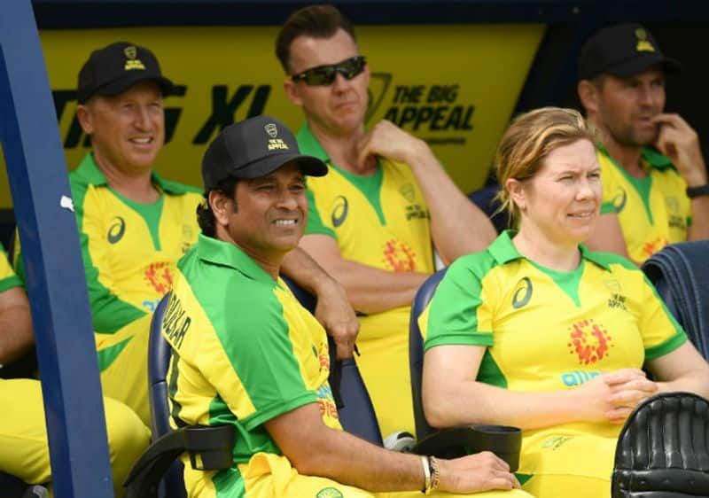 Sachin Tendulkar looks on during the Bushfire Cricket Bash T20 match between the Ponting XI and the Gilchrist XI at Junction Oval on February 09, 2020 in Melbourne, Australia.