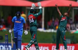 Avishek Das of Bangladesh celebrates bowling Atharva Ankolekar of India during the ICC U19 Cricket World Cup Super League Final match between India and Bangladesh at JB Marks Oval on February 09, 2020 in Potchefstroom, South Africa. (Photo by Matthew Lewis-ICC/ICC via Getty Images)