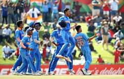 India players celebrate a stumping by Dhruv Jurel of India during the ICC U19 Cricket World Cup Super League Final match between India and Bangladesh at JB Marks Oval on February 09, 2020 in Potchefstroom, South Africa. (Photo by Jan Kruger-ICC/ICC via Getty Images)