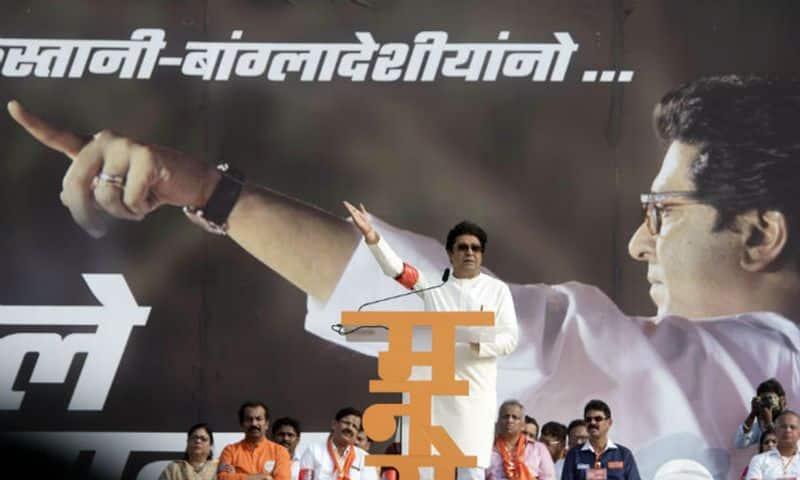 Maharashtra Navnirman Sena (MNS) Chief Raj Thackeray speaks during a rally from Marine Drive to Azad Maidan, demanding eviction of illegal immigrants from Pakistan and Bangladesh staying in India, in Mumbai on Sunday. (ANI Photo)
