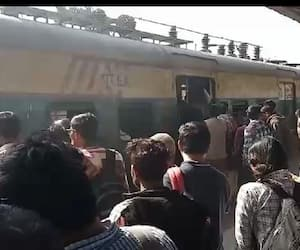 Panic at Ambika Kalna station as smoke comes out from a local train