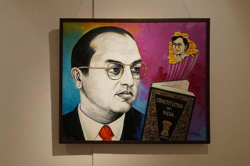 pencil sketch exhibition on telangana cm kcr