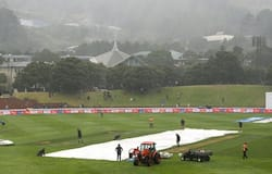 The pitch is covered due to rain. The final session was washed out. At stumps, India were 122/5 in 55 overs