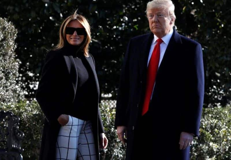 Donald Trump changes red tie to yellow before landing in Ahmedabad