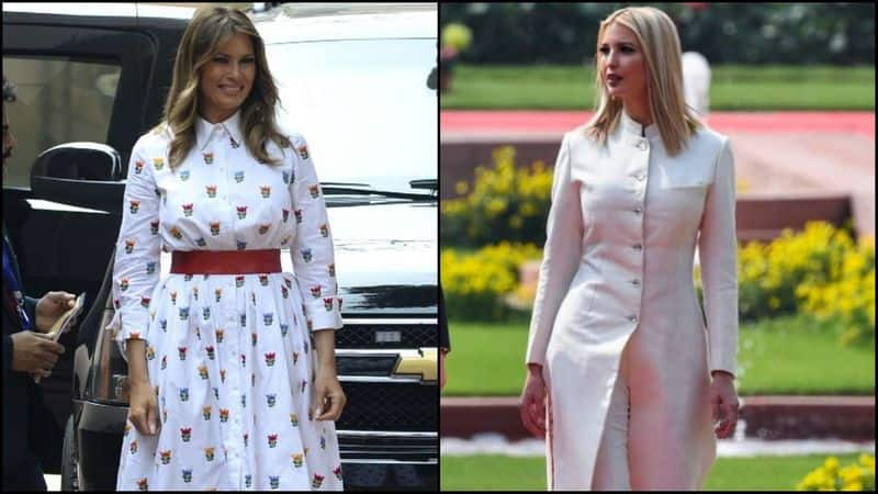 On arrival at the Rashtrapati Bhavan, the First Lady stepped out of the 'The Beast' wearing a midi-length collared white dress with a skater hemline. The outfit had colourful flower motifs printed on it in hues of red, blue, yellow and green.