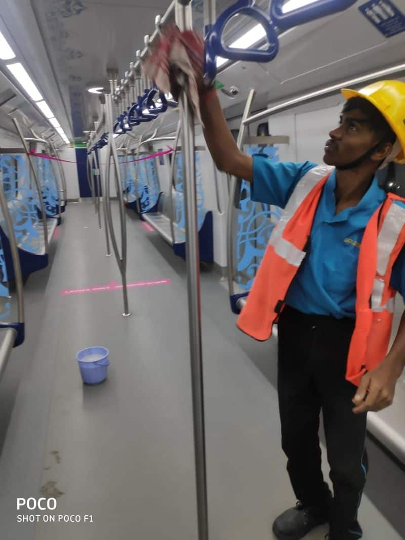 Hyderabad metro staff spray disinfectant stations metro coaches over corona Fear