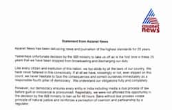 statement from asianet news